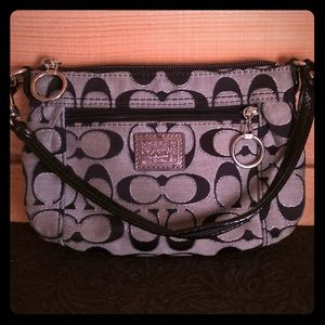 Coach Black/Silver smaller hand purse